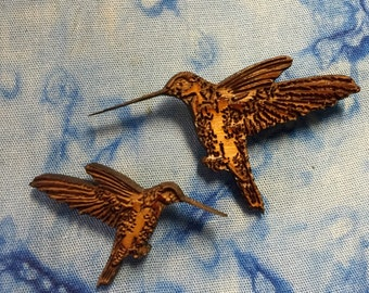 Natural Hummingbird  Cedar Brooch