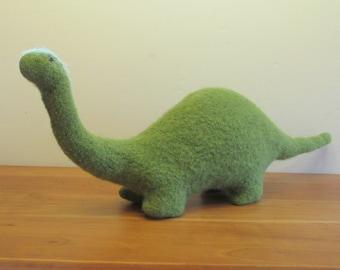 Stuffed Brontosaurus, Plush Dinosaur Stuffed Animal, Handknit Green Wool Extra Large