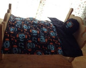 Bedding/ comforter bed cover PILLOW Skull Headphones BED SET for dolls