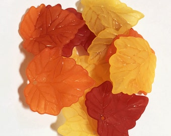 120 pcs of  Frosted Acrylic leaf drops 24x22mm - Autumn leaves fun pack