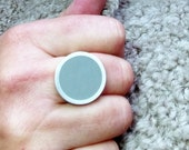 Statement Ring - Big Round Gray Resin Ring - Grey Rings - Bold Silver Ring - Sixties Pop Art Jewelry