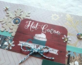 Winter scrapbook page, Hot Cocoa, 2 page spread, snow, scrapbook album