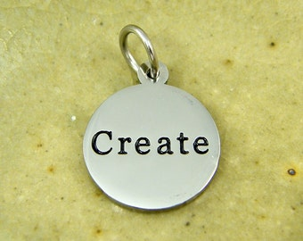 Create Charm Pendant Stainless Steel Silver Tone Creativity Charm Word Pendant  S5-4 1 XA