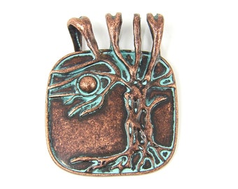 Antique Copper Pendant Verdigris Patina Tree with Leaves Woodland Jewelry Component |GR12-13|1