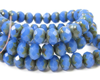 Cornflower Blue Rondell Beads, 8x6mm Picasso Czech Glass Beads |LG11-3|25
