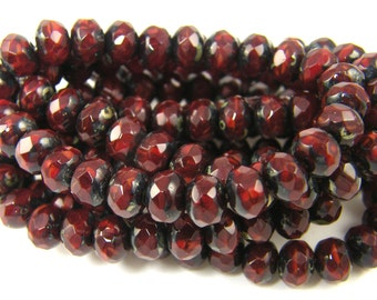 Dark Red Picasso Rondelle Beads, Burgundy Rondelle Beads Garnet Picasso 5mm x 7mm Faceted Rondelle Czech Glass Beads |R3-14|25