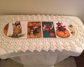 AuntRoo's MINI Vintage Halloween fabric runner (reverse side Foliage/Leaves) w/ crocheted edging for toilet tank or small shelf