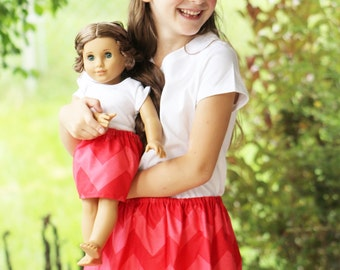 Matching Girl and Doll Clothes - Fits American Girl Doll - Twirl Skirts in Large Chevron Red, Many Sizes Available