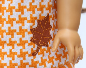 Fits like American Girl Doll Clothes - Autumn Leaf Applique Pillowcase Dress