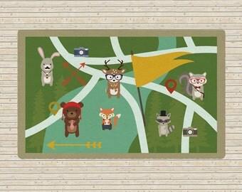 Kids rug, woodland creatures rug, Animals Rug, Interactive rug, map rug, playroom rug, bear map, nursery rug, rabbit rug, forest rug