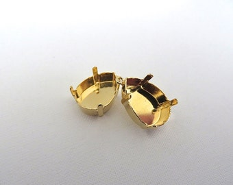 2 Gold Plated Pendant Bases for Swarovski 4320 18mm