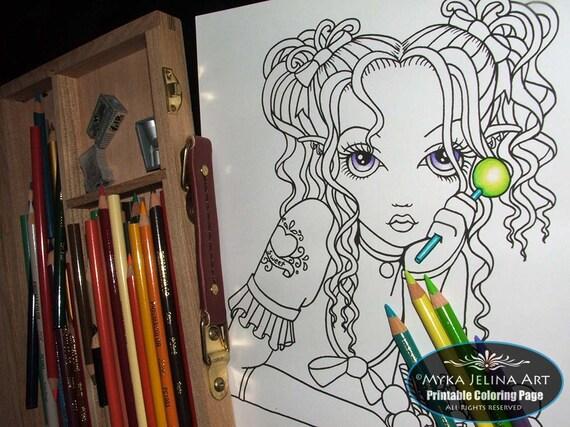 alisha candy fairy digital download coloring page myka jelina art from mykajelina on etsy studio. Black Bedroom Furniture Sets. Home Design Ideas