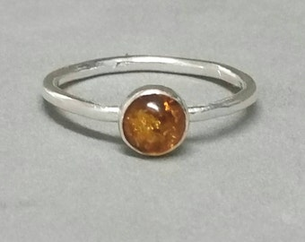 Baltic Amber Ring, Sterling Silver Amber Ring, Amber Pinky Ring, Size 7 Ring, Sterling Amber Stacking Ring, by Maggie McMane Designs