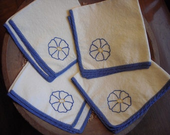 Four Handstitched Hand Emboidered Vintage Antique Cotton Fabric Cloth Napkins With Blue Flowers
