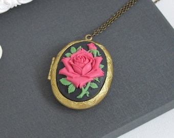 SPECIAL SALE Classic Red Rose Cameo Large Oval Brass Locket Necklace. Vintage Style Locket Necklace
