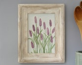 Original Watercolor Painting Lavender Painting Kitchen Decor Herbal Art 3rd Anniversary Gift Purple Flower Painting in Watercolor Pencil