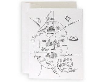 Atlanta Pen and Ink Map Notecard Set