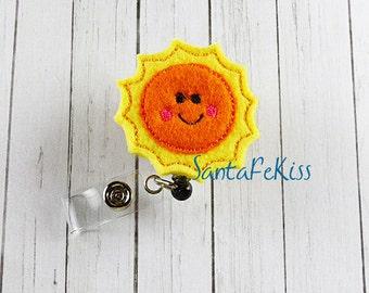 Yellow and Orange Smiling Sun ID Badge - Embroidered Felt Badge Reel - Retractable ID Badge Holder - Badge Reel Clip - Medical Badge