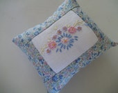 Embroidered Pincushion Upcycled Vintage Embroidery
