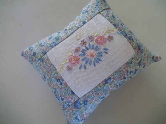 Embroidered pincushion upcycled vintage embroidery from