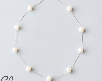 Sterling Silver Box Chain and White Fresh Water Pearl Necklace (N119)