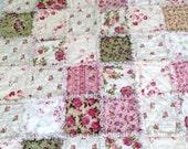"""Roses Rag Quilt  Blanket  Shabby Chic Rag Quilt Pink White Green Cream Roses 42 """"X  48"""" Cotton  Baby Toddler Girl Teen Lap Robe"""