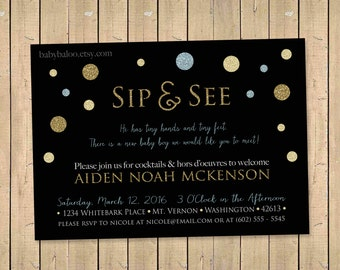 GOLD glitter SIP and SEE Invitation - Gold blue black Sip & See Party Invite, Meet Baby, Baby Boy Shower, Diy Printable Digital - polka dots