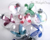 Butterfly Bauble Keepsake Ornament - colored butterfly in glass globe - glass keepsake - you choose color