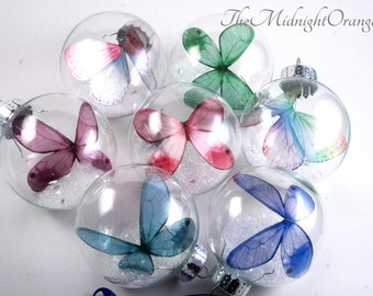 Butterfly Ornament - colored butterfly in glass bauble - beautiful memorial ornament - you choose color