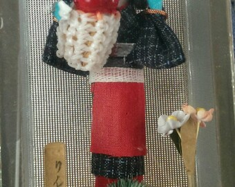 Sweet Little Japanese Doll with apple basket in Glass mirror Case