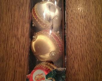 Set of 4 Vintage Plastic Christmas Ornaments in Original Box