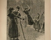 Antique Victorian Newspaper Print. The Graphic, dated August 3, 1872. A Ladies Class At The German Gymnasium