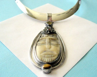 Carved Bone Face and Gemstone Sterling Silver Pendant with Sterling Choker Collar