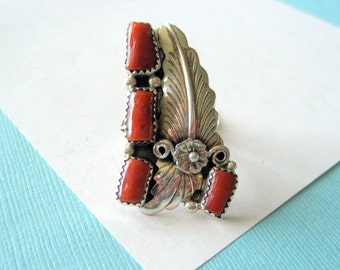 Navajo Red Coral and Sterling Silver Ring Size 6 3/4