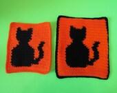 Black Cat Kitchen Combo. Black Cat Dishcloth & Matching Black Cat Potholder. Cat Lovers Kitchen Decor. Dishcloth-Potholder Duo. Gift for Her