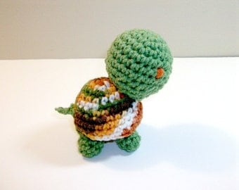 Plush Toy Turtle in Green & Orange Ombre - Tiny Baby Turtle Plush Animal - Amigurumi Crochet Turtle- Stuffed Soft Toy Turtle - Ready-to-Ship