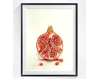 Pomegranate Kitchen Art Print/ Watercolor Painting  / Fruit art  / artwork / pop art still life / LaBerge Muren Studio