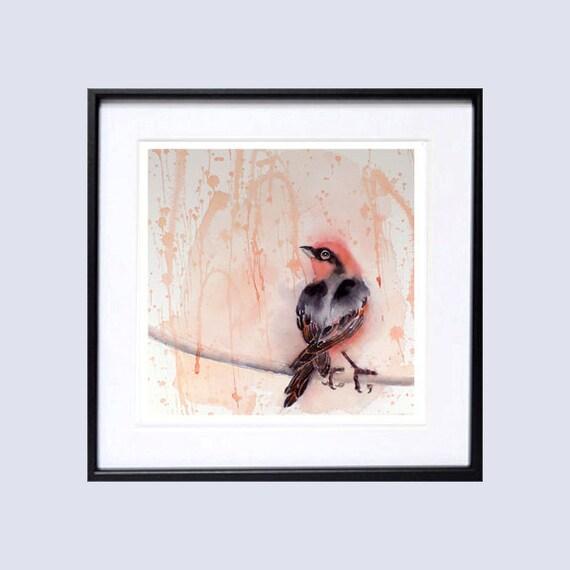 7. Bird Art PRINTS Purple Finch Bird watercolor painting, Bird watercolour print, Small songbird cute bird print, pink watercolor painting