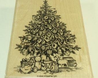 Stampin Up Christmas Tree Wood Mounted Rubber Stamp Old Fashion Christmas