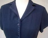 Navy blue shirt dress / Ann Taylor dress / rayon short sleeve dress / white trim, airy, button up, womens petite xs-small