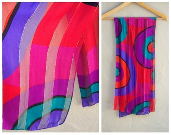 BOLD 80s scarf / Jones New York / geometric statement scarf, colorful, hand rolled edges / long 50""