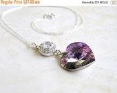 27% Off Sale Lilac Teal Swarovski Crystal Heart Necklace CZ Halo Sterling