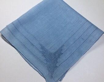 Vintage Something Blue Handkerchief - Hankie Handkerchief