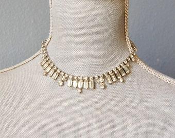 Vintage 1950s Rhinestone Choker Necklace Bride Elegant