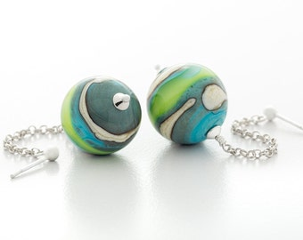 lampwork glass earrings, turquoise green ivory, sterling silver, dangle, round, artisan jewelry