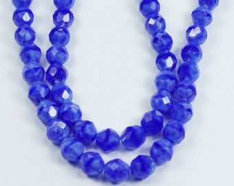 25 Blue Coral Czech Firepolish Round Beads 8mm