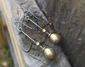 Lichen Twig Freshwater Pearl Dangle Earrings Green Golden Pearl Sterling Silver 18 Karat Gold