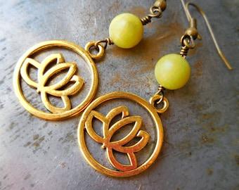 Lotus earrings with olive jade gemstone beads. Long lotus dangle earrings for men or women. Yoga zen meditation jewelry. Gold lotus flowers
