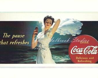 Digital Download Vintage PostCard and Calendar Images Beautiful Girls Drinking Coca Cola 0017