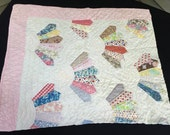 Vintage Hand Pieced Fan Pattern Cutter Quilt Piece with Pretty Pink Floral Backing